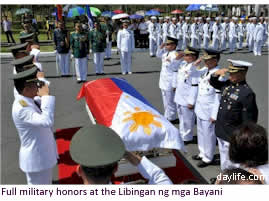 Full military honors at the Libingan ng mga Bayani
