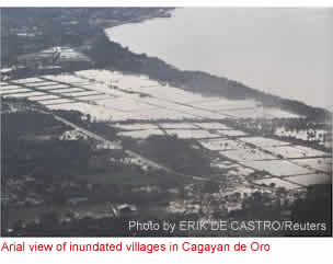 Arial view of inundated villages in Cagayan de Oro