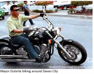 Mayor Duterte biking around Davao City