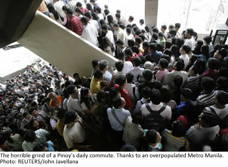 The horrible grind of a Pinoy's daily commute. Thanks to an overpopulated Metro Manila