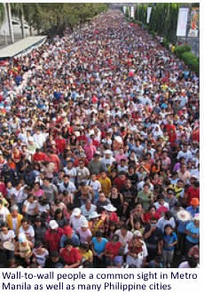 Wall-to-wall people a common site in Metro Manila and many Philippine cities