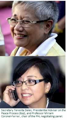Secretary Teresita Deles, Presidential Adviser on the Peace Process (top), and Professor Miriam Coronel-Ferrer, chair of the PHL negotiating panel