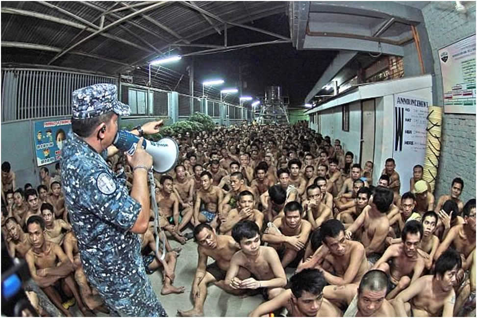 Extreme overcrowding in Philippine prisons.